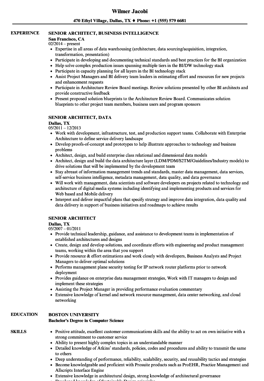 senior architect cv sample