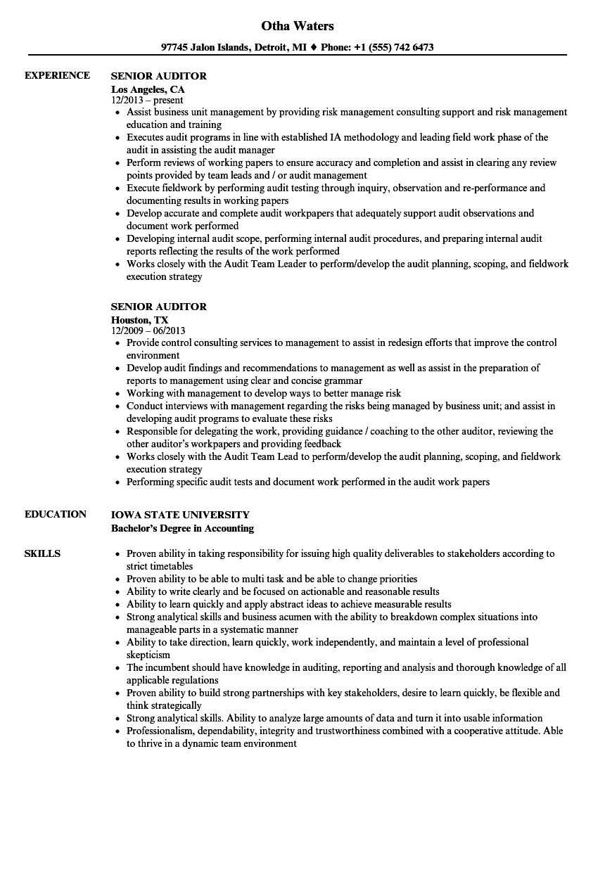 quality auditor resume sample