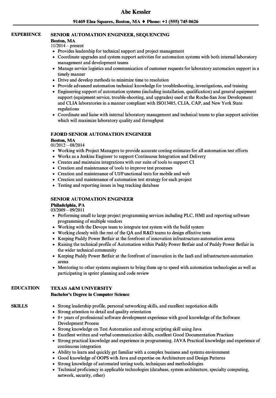 sample resume senior engineer