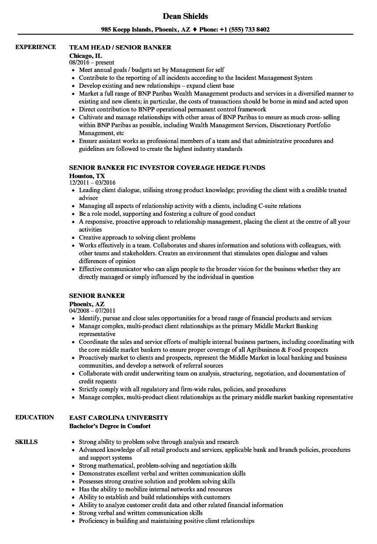 resume skills examples banker
