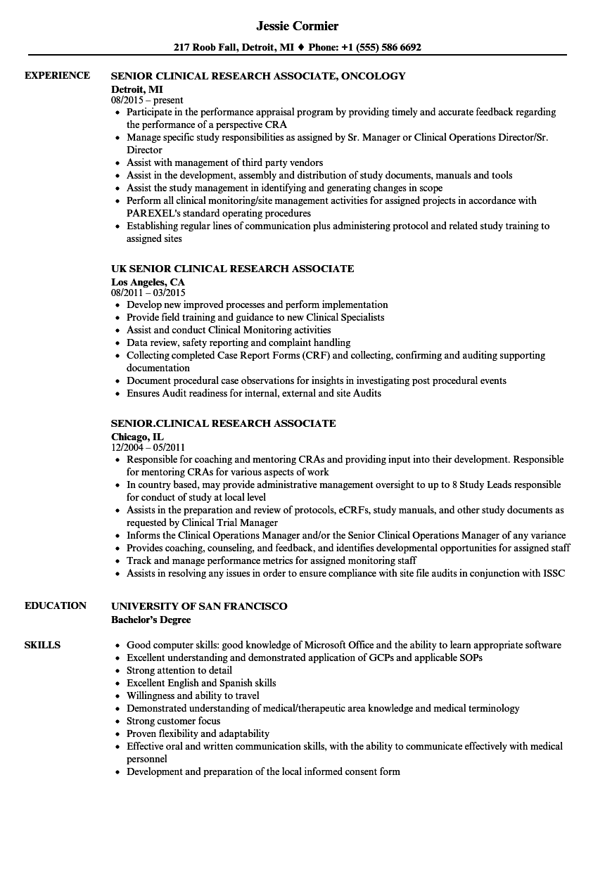 sample resume clinical research associate