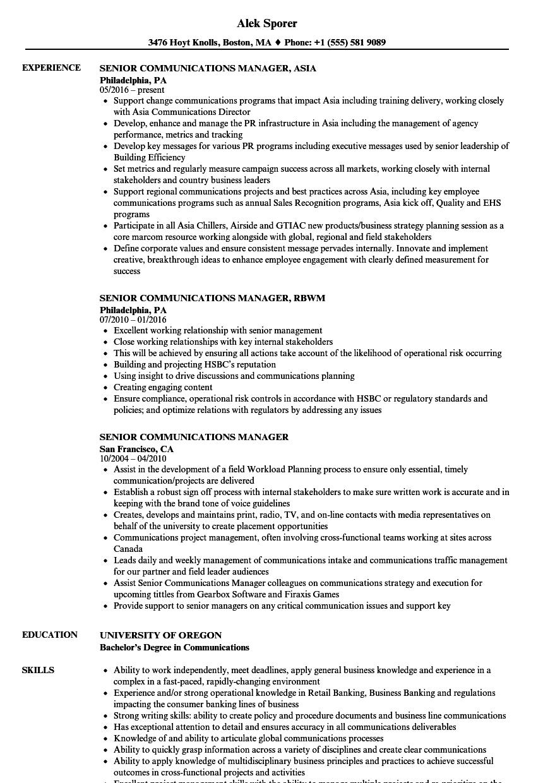 communication sample for resume