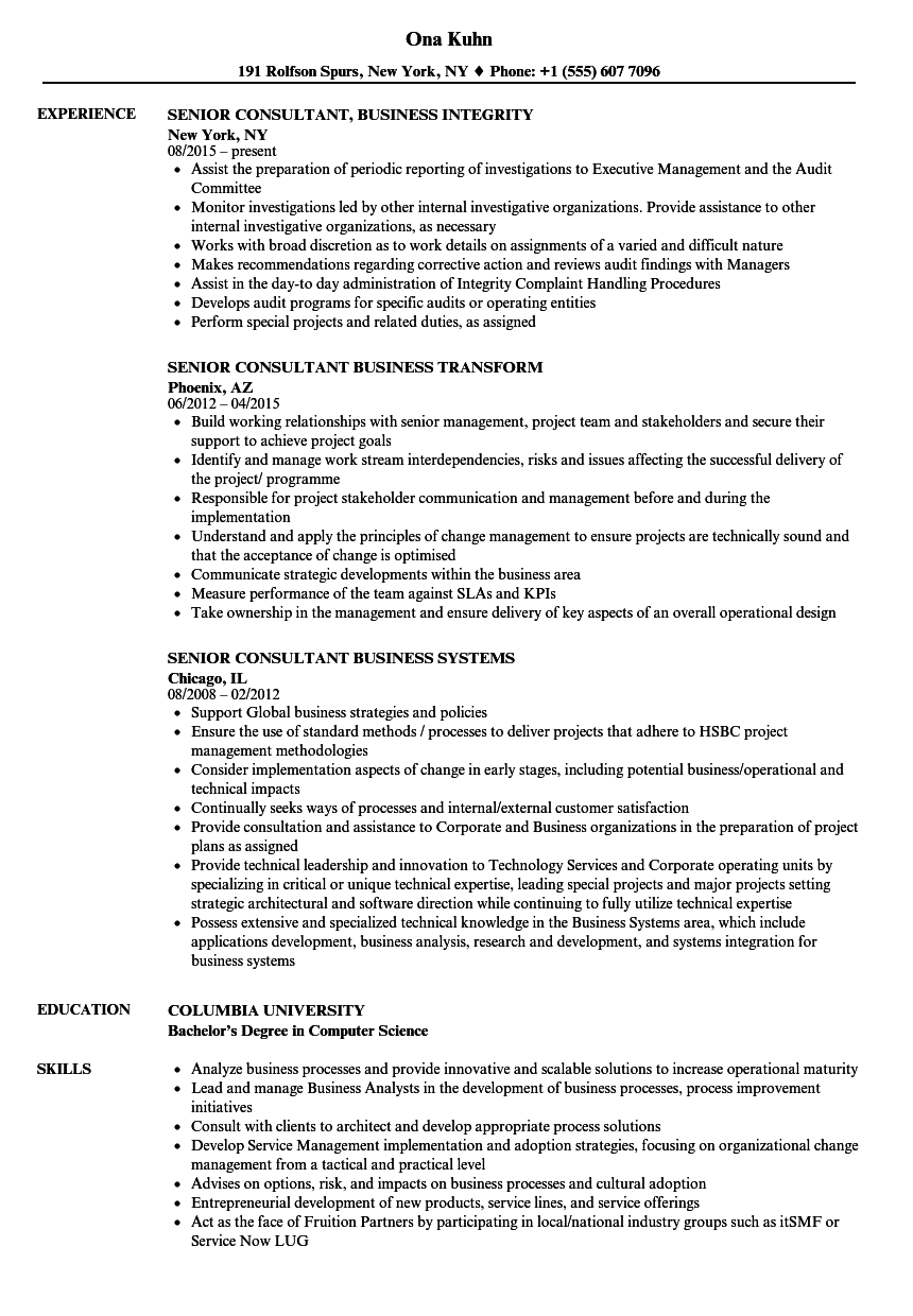 sample resume itil consultant