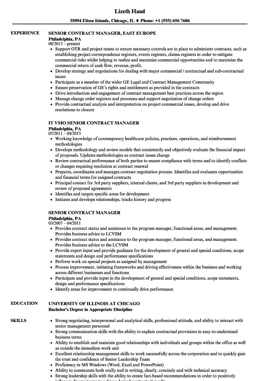 sample contract management resume