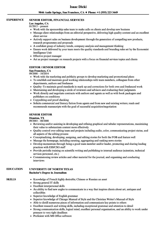senior editor resume sample
