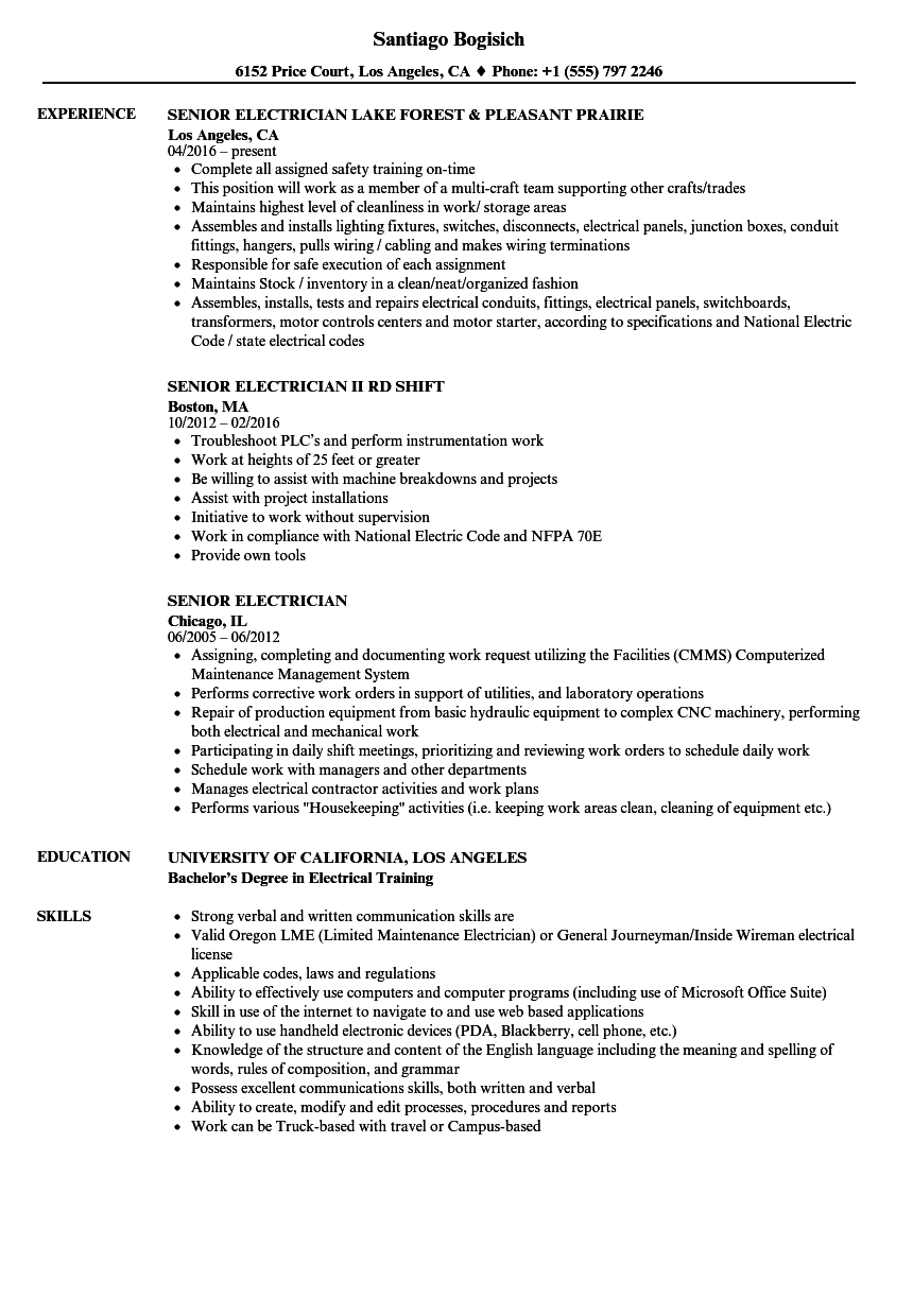 sample resume for electrician foreman