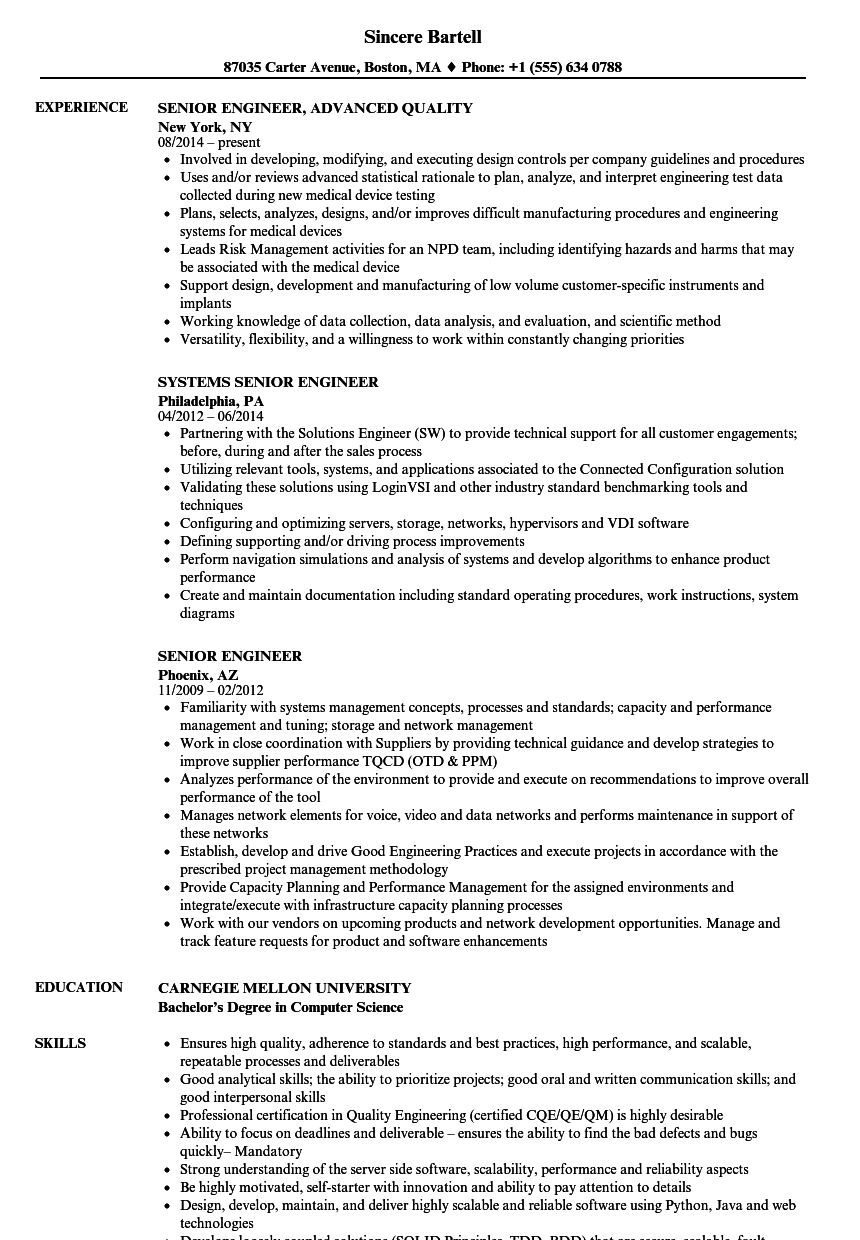 senior planning engineer resume sample