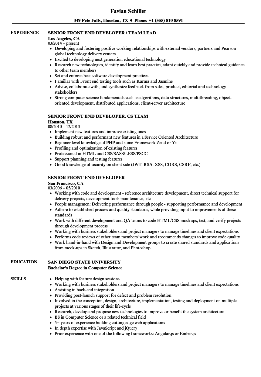 front end engineer sample resume