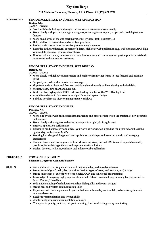 mean stack developer sample resume