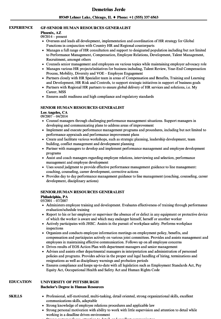 resume for hr generalist