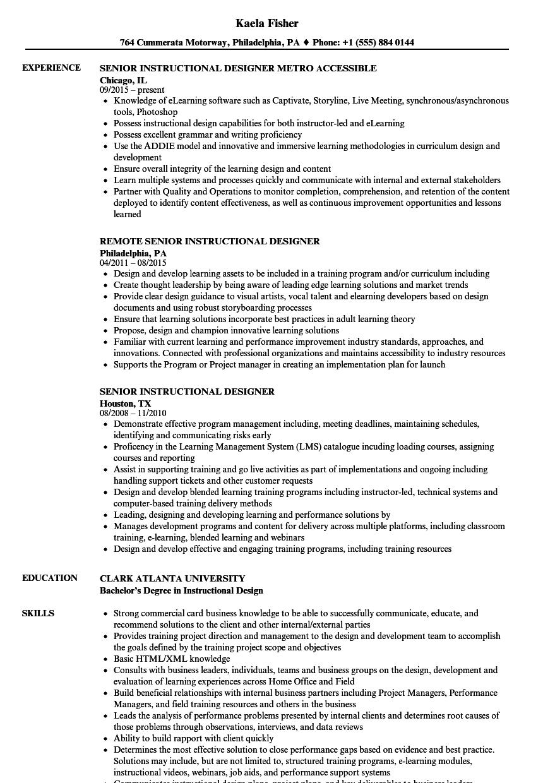 instructional designer resume examples