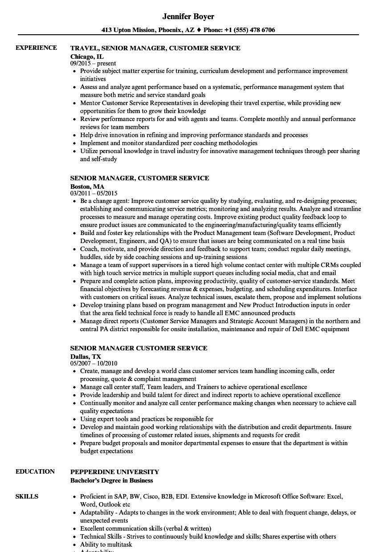 customer service based resume