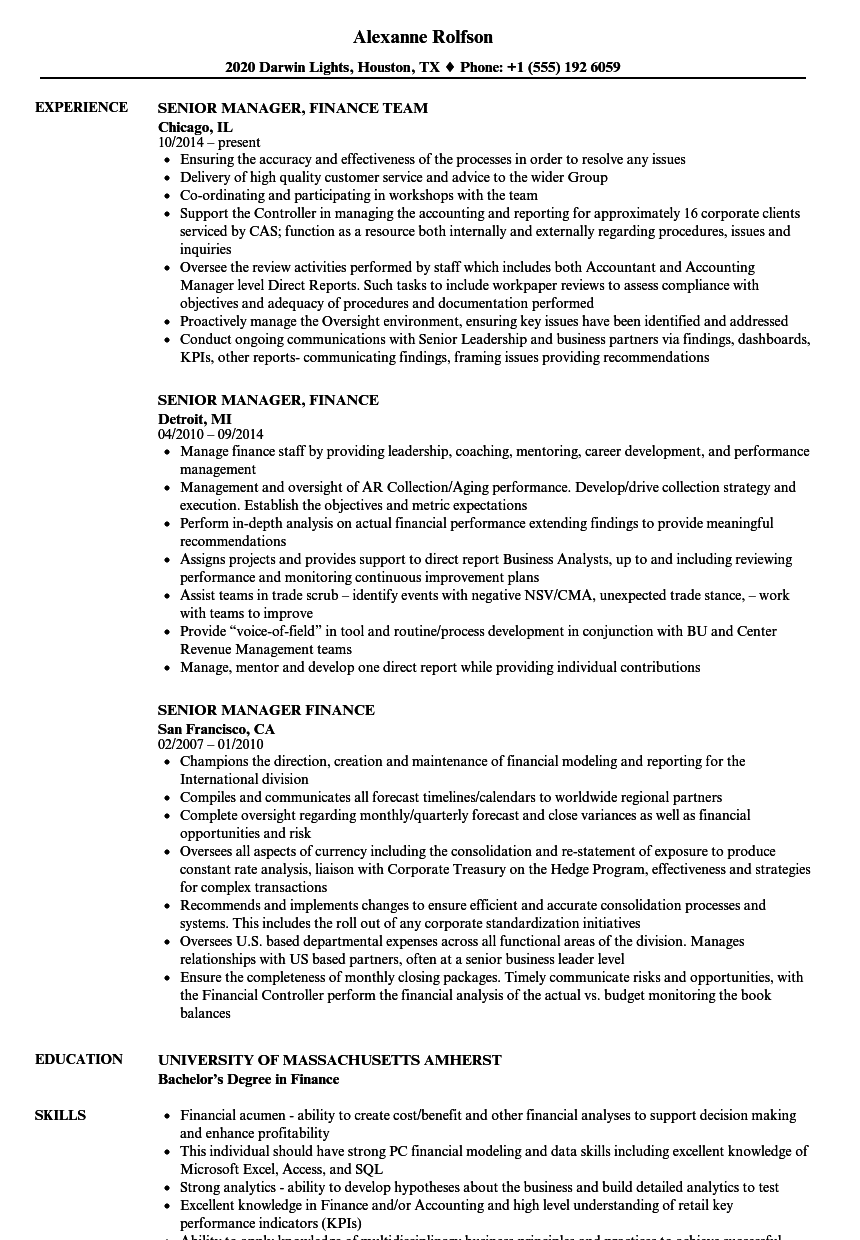 sample resume for senior managers