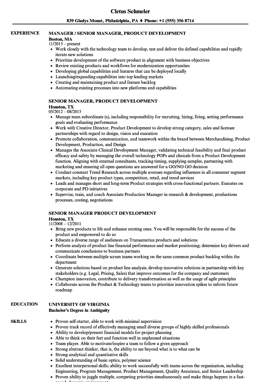 technical product manager sample resume
