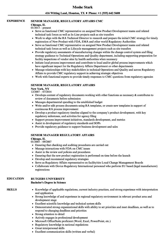 regulatory affairs manager resume sample