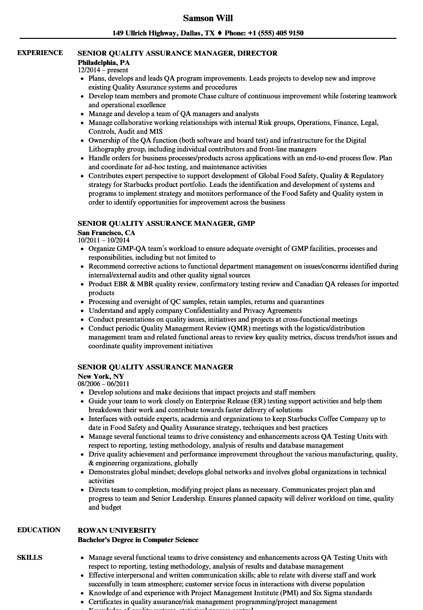 sample resume software quality assurance manager