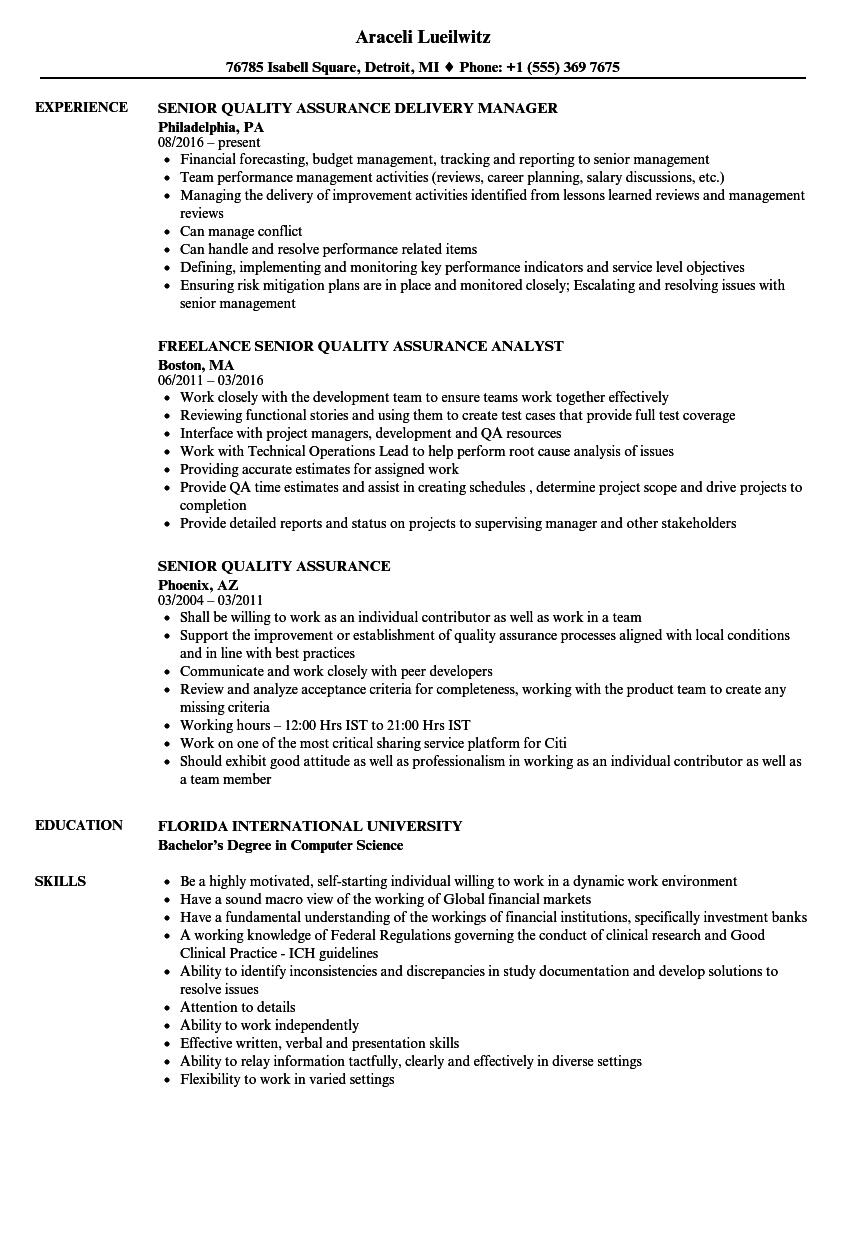 quality assurance control resume examples