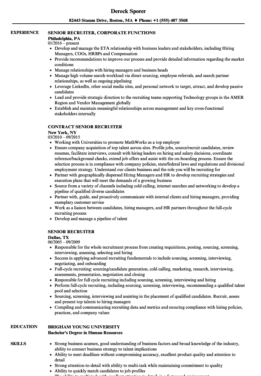 recruiter resume sample monster