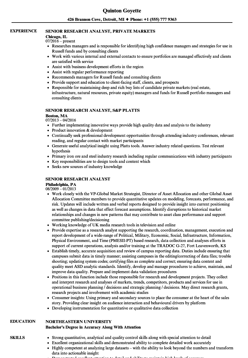 marketing research analyst resume sample