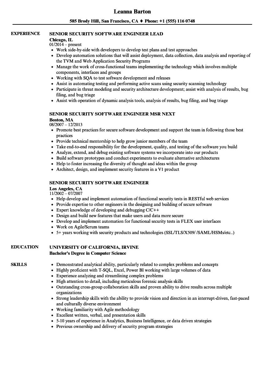 sr software engineer resume sample