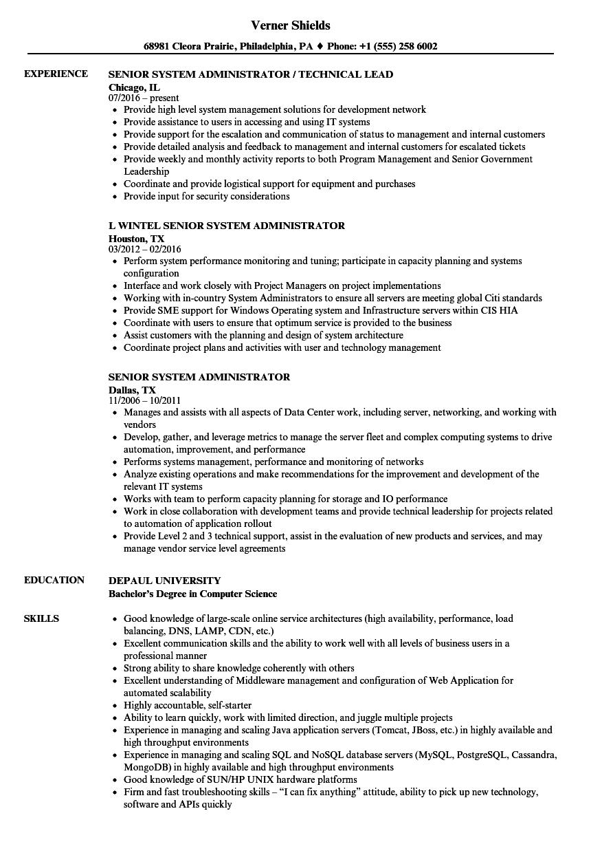 sample senior network administrator resume