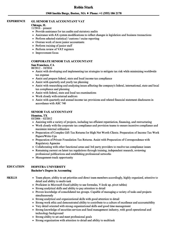 sample senior tax accountant resume
