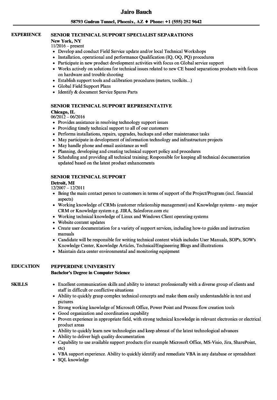 senior desktop support engineer sample resume
