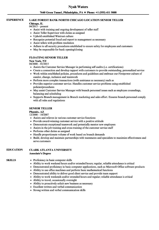 sample resume for bank head teller