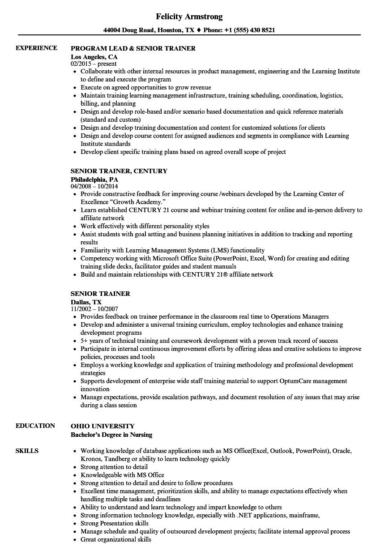 sample resume of retail trainer
