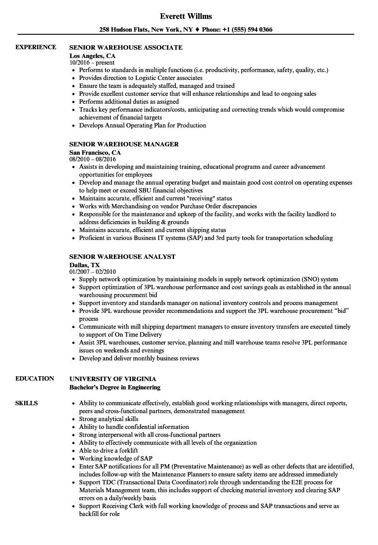 warehouse job titles resume