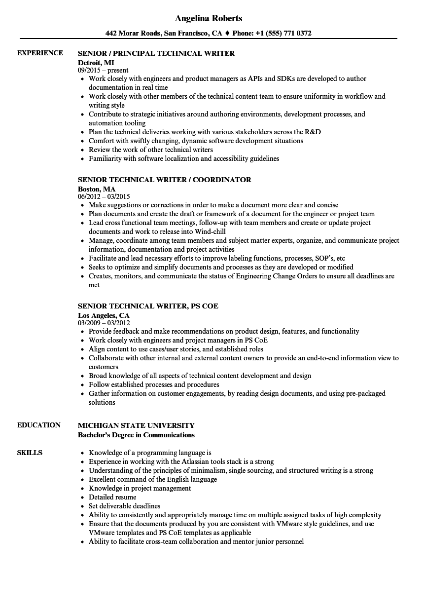 resume examples for technical writer