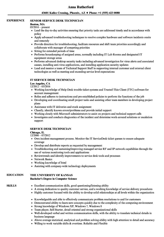 service desk technician resume sample
