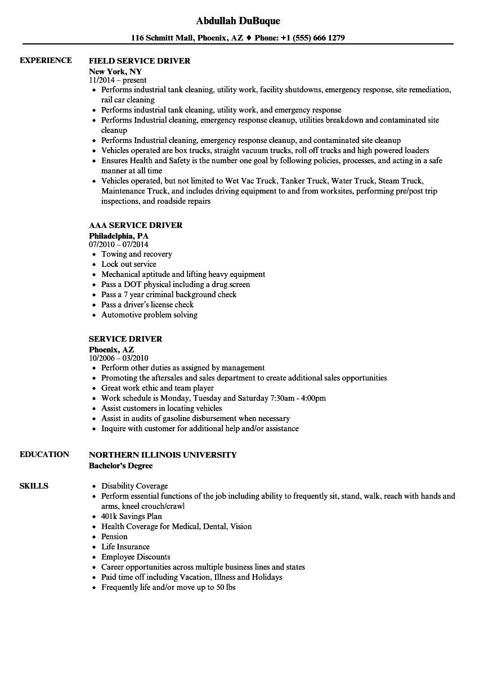 van driver resume