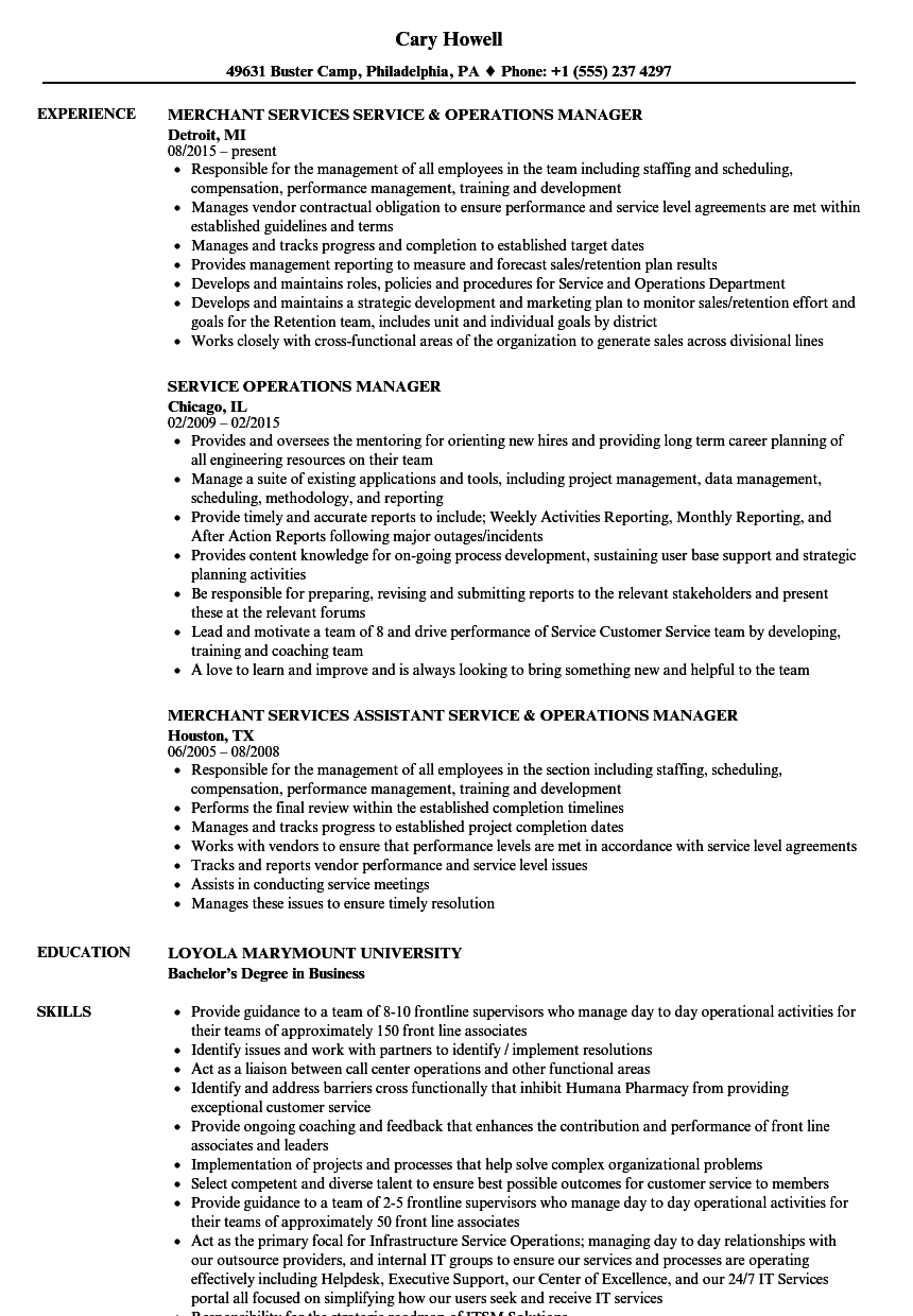 sample resume for area service manager