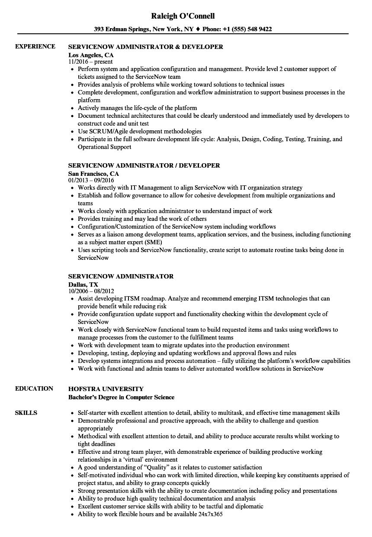 servicenow resume examples