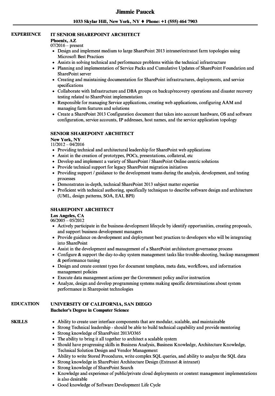 sharepoint solution architect resume sample