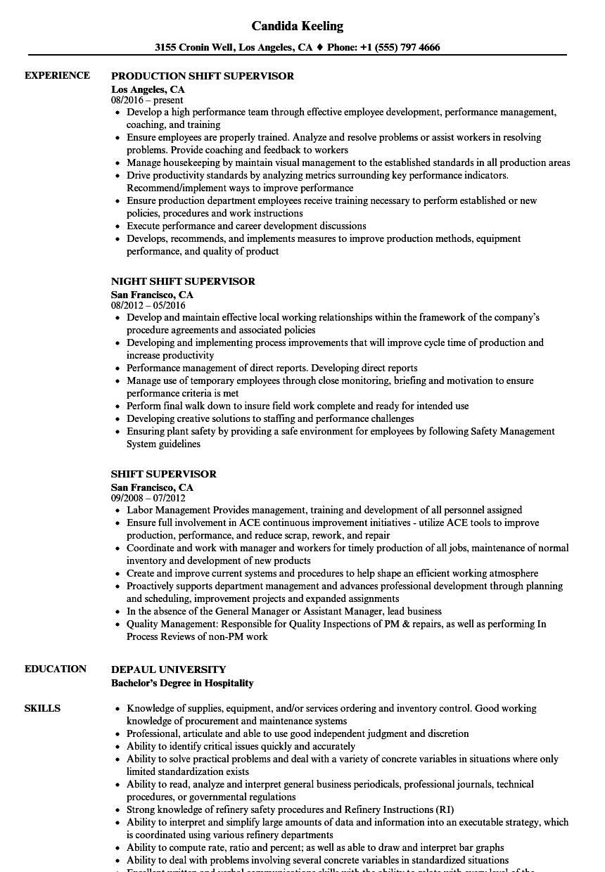sample resume for supervisor work