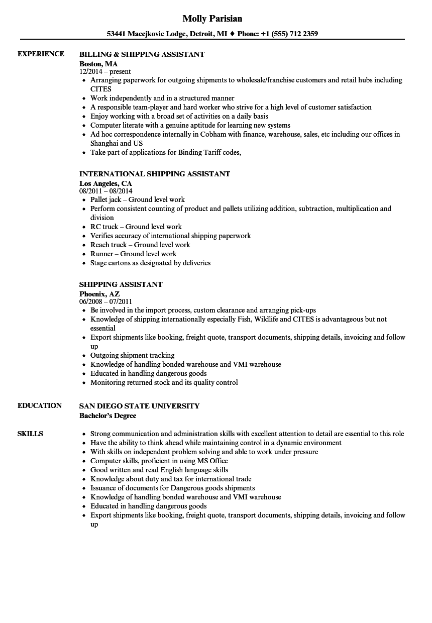 shipping assistant resumes