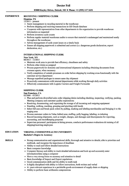 shipping receiving clerk resume