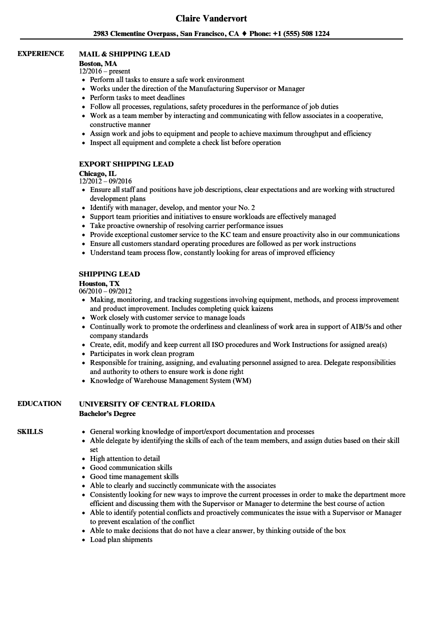 sample resume for shipping and receiving