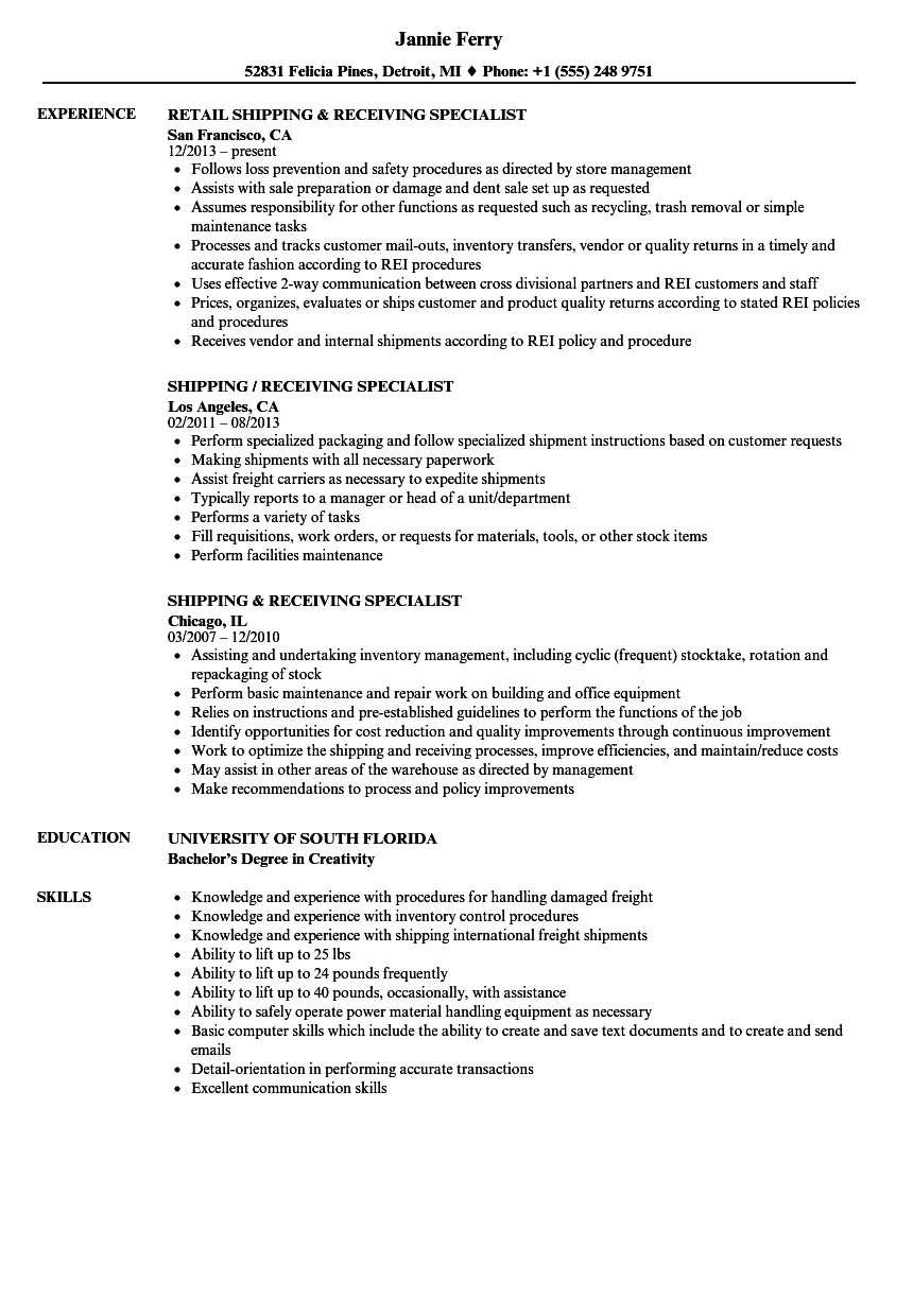order pickers resume sample
