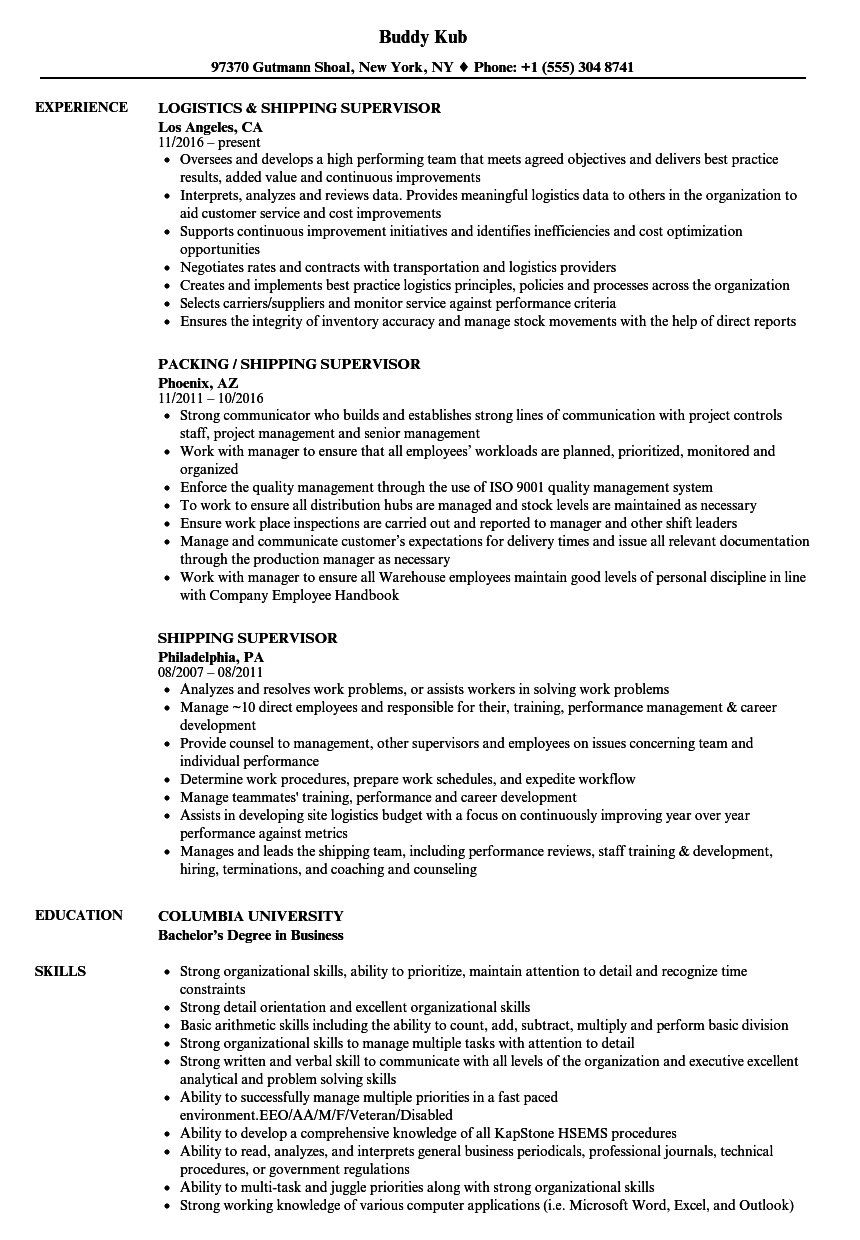 shipping manager resume examples