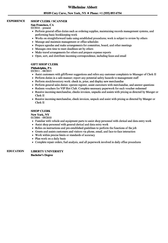 shop clerk resume sample