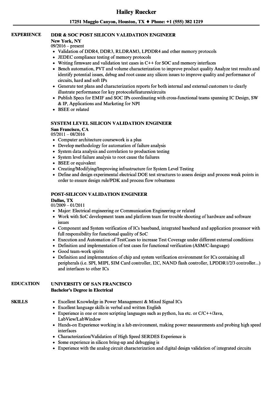 software validation resume