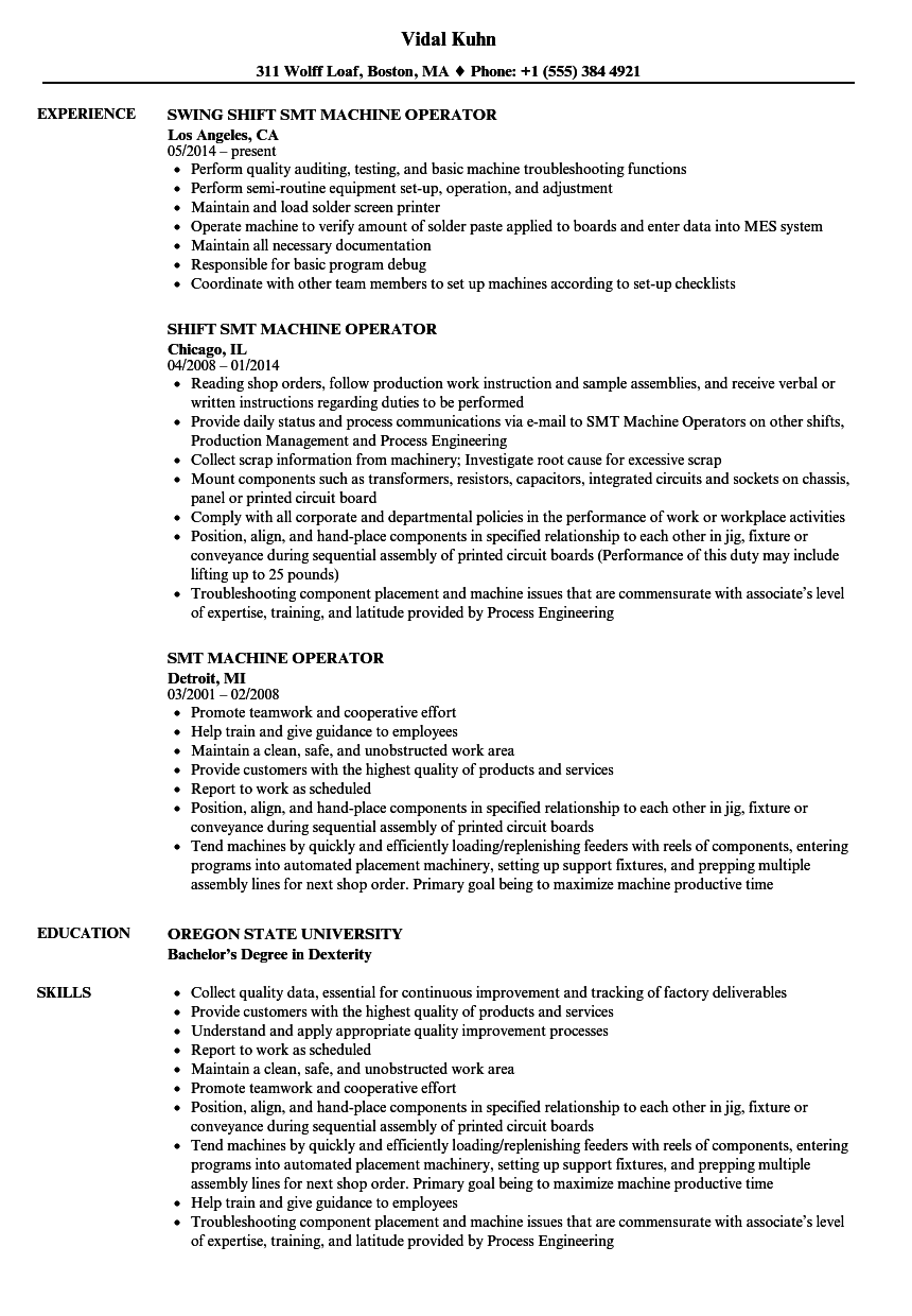 master control operator resume examples