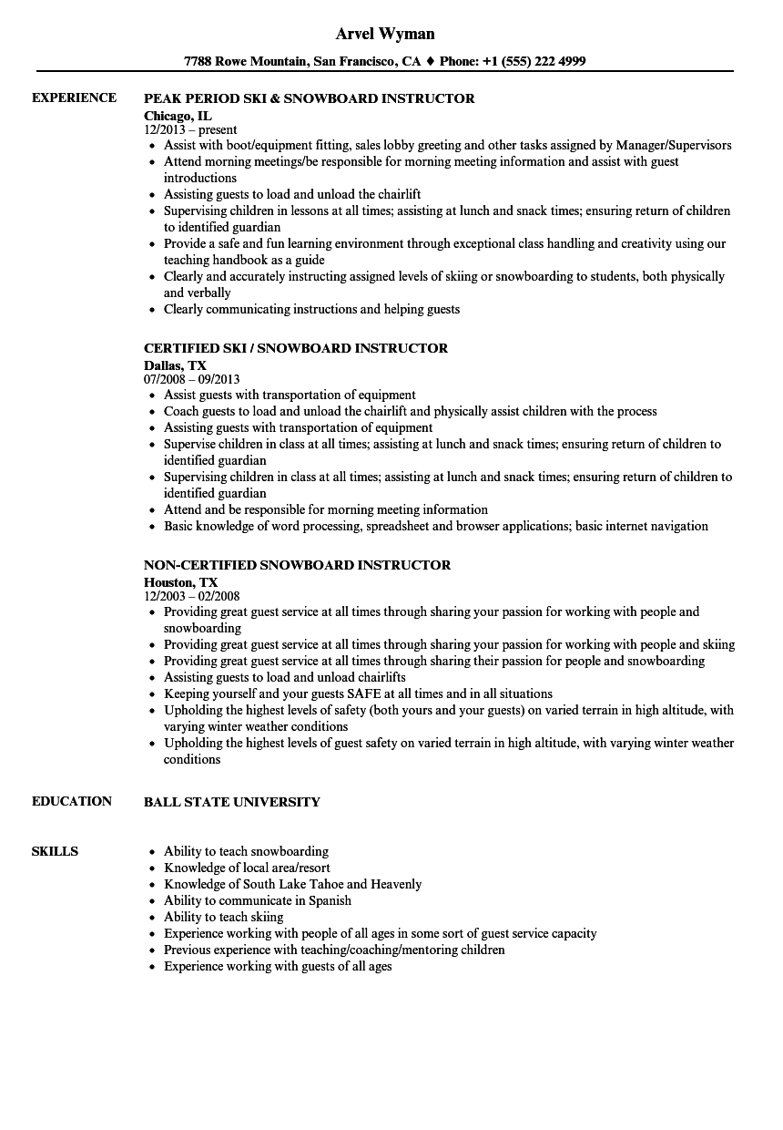 resume of yoga instructor