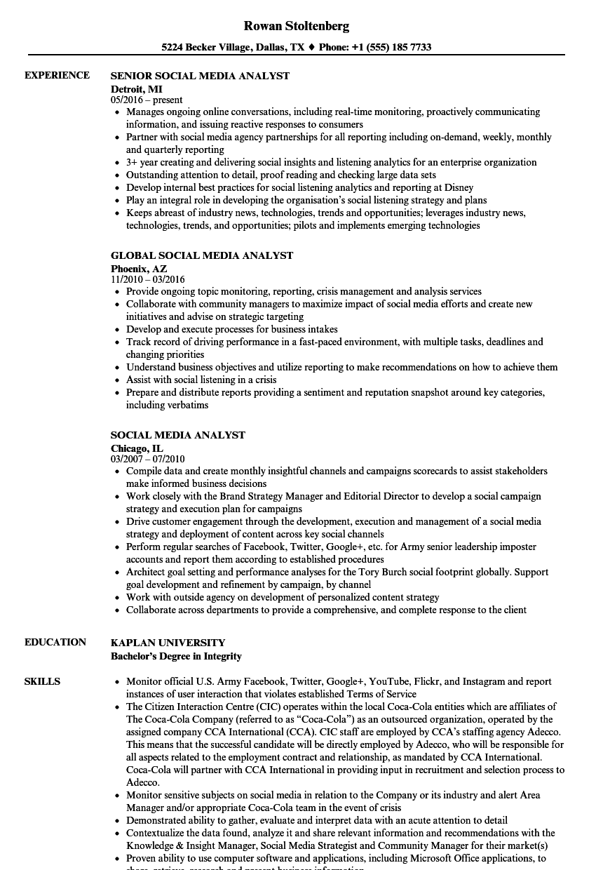 global social media resume samples