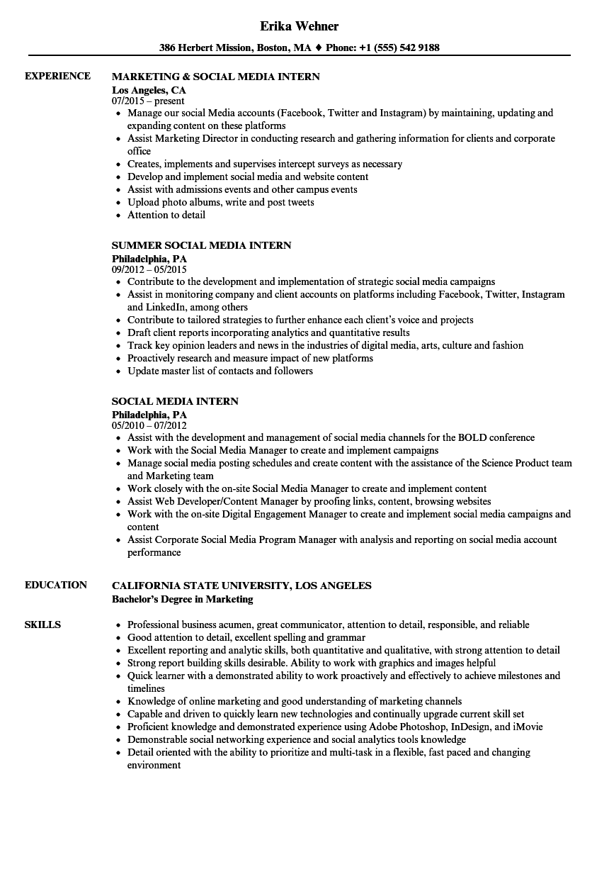 resume samples with internship experience
