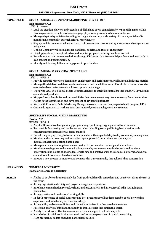 marketing social media resume sample