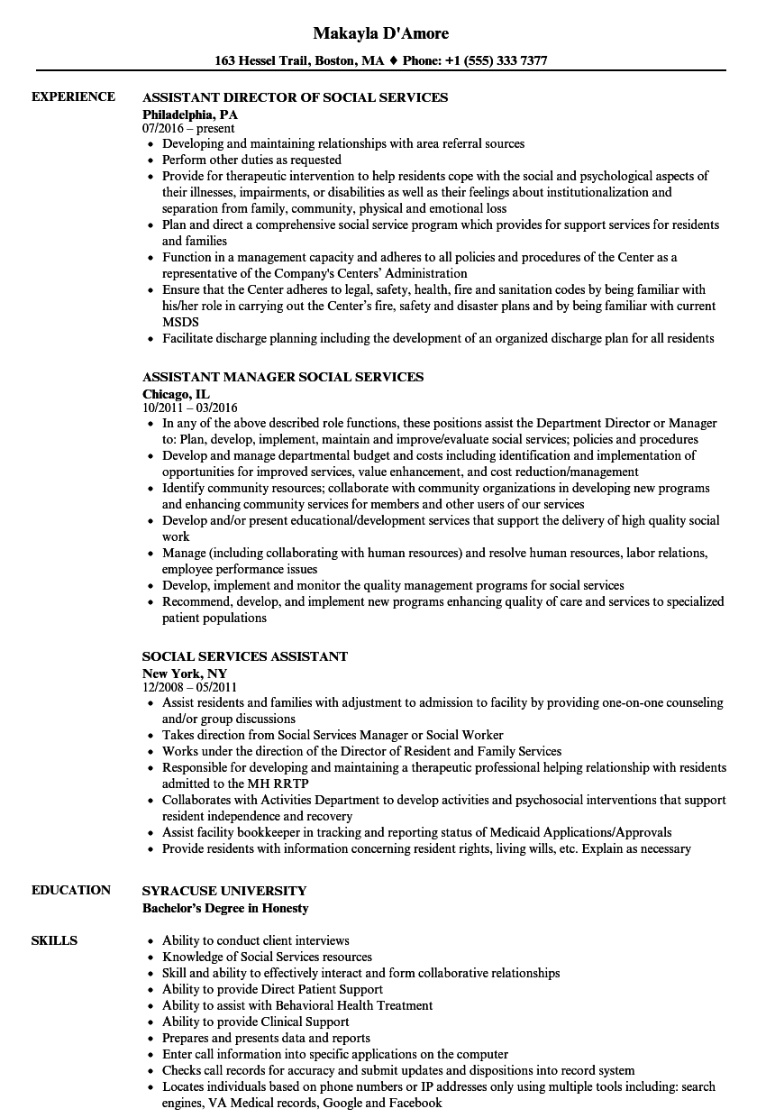 sample resume social service assistant